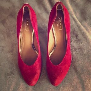 Coach suede red heels 👠